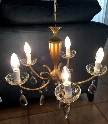 VINTAGE   5-LIGHT/arms BRASS & GLASS CRYSTALS CHANDELIER CEILING LIGHT