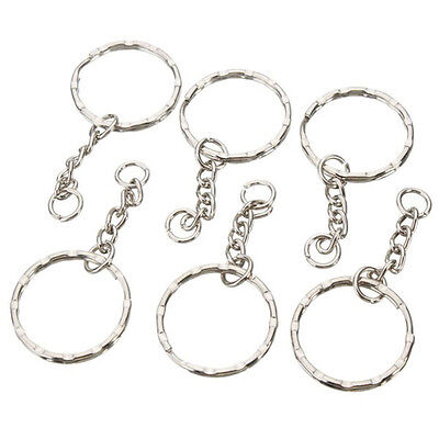 50pcs 25mm Keyring Blanks Tone Key Chains Findings Split Rings 4 Link Charm W3V0