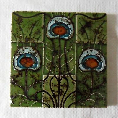 "Original  English  Art Nouveau tile , c1905 6""x6"""