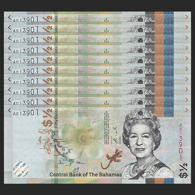 Lot 10 PCS, Bahamas 1/2 0.5 Dollar 50 Cents, 2019, P-NEW, UNC