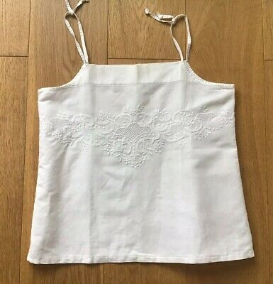 Antique Victorian Edwardian 20s Vintage White Cotton Embroidered Vest Bodice