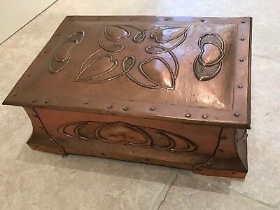 Very Rare Gorgeous Original Arts and Crafts Glasgow copper box TALWIN MORRIS
