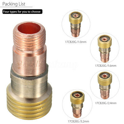 For Tig WP-17/18/26 Torch Brass Collets Body Stubby Gas Lens Connector With