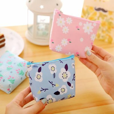 Earphone Container Delicate Flower Pattern Coin Purse Wallet Key Storage Bag