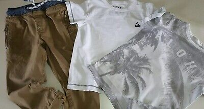 Boys Next Outfit Bundle, Trousers & T-Shirts, Tan, Grey & White Age 3-4 Yrs Vgc