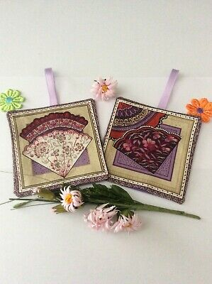 Lavender Sachets Bags In Lilac Oriental Fans Style Print Fabric  Decoration Gift