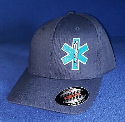 Men/'s Navy Blue Embroidered Star of Life EMS EMT Logo Deluxe Low Profile Cap Hat