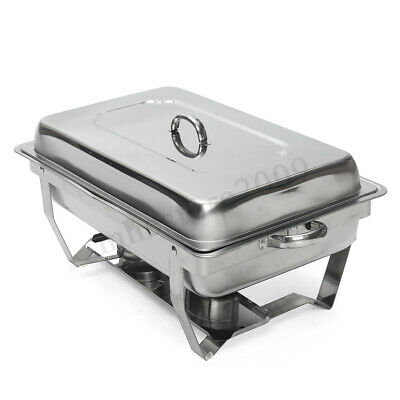 9 Quart Stainless Steel Chafing Dish Set Full Size with Tray Folding Chafer