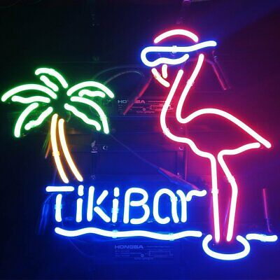 "New Tiki Bar Pink Flamingo Palm Tree Cub Party Decor Neon Light Sign 17""x14"""