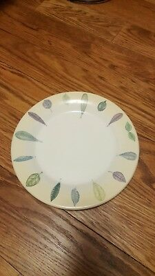 Portmeirion The Seasons Collection Leaves Yellow Rim White Dinner Plate 10.75""