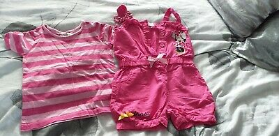 Disney Store Minnie Mouse Dungarees And T-shirt, Age 2-3