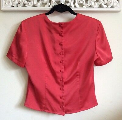 Vintage Red Satin fitted Blouse Top, UK Size 8-10 Immaculate