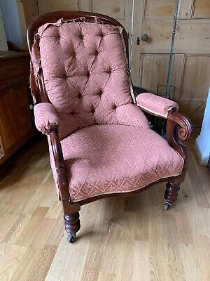 Stunning Victorian Carved Solid Mahogany Cabriole Leg Armchair Side Chair