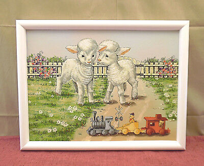 Beautiful Framed Giclee Art Print On Canvas of Lambs Watching a Train