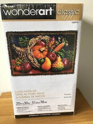 "Wonderart Classic Latch Hook Rug Kit ""Country Harvest"" Tapestry New & Sealed"