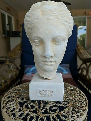 Alabaster Hygeia 9 -inch Greek Museum Copy Head Statue Bust. Artist Coin Stamped