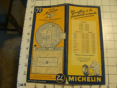 Vintage Original map of France: MICHELIN #72, ANGOULEME - LIMOGES, 42.5X19.5""
