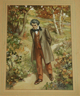 ca 1943 'A PENSIVE MAN' Listed Martin Justice (1869-1961) Watercolor Painting