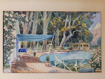Circa 1940 'PALM SPRINGS, POOLSIDE' Listed Fritz Poock Watercolor Painting