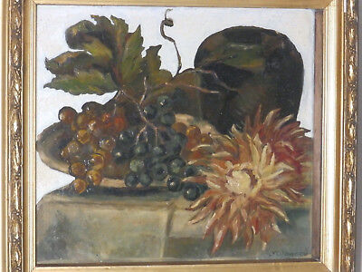 Circa 1950's Still Life Table 'GRAPES' Listed (France) J Wagner Vintage Painting