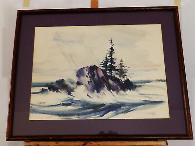 Impressionism 'THE ROCK' Roberts Vintage Watercolor Painting