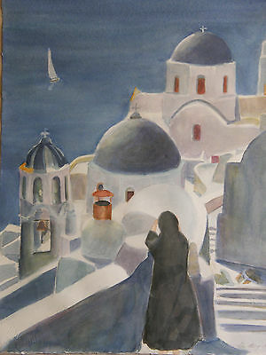 """Circa 1991 ''GREECE BY THE SEA"""" Stavropoulos Vintage Watercolor Painting"""