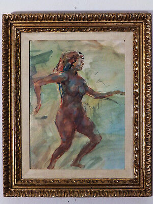 Mid Century Nude Woman 'FREEDOM' Vintage Watercolor Painting