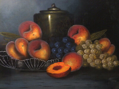 Circa 1900's ' 'PEACHES & GRAPES' Still Life Vintage Oil Pastel Painting