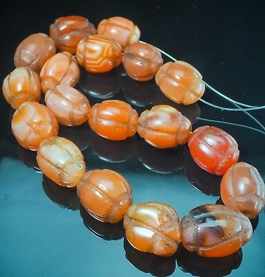 RARE! Antique Prized Carnelian Squash Melon Stone Carved Old Tibet Beads Strand