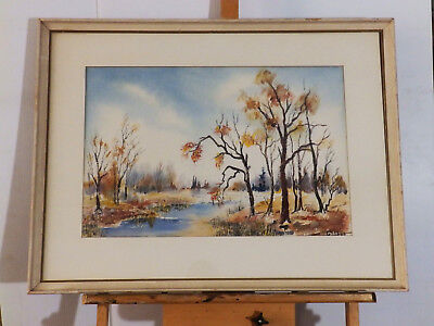 'AUTUMN COLORS' by Gesell Vintage Watercolor Landscape Painting