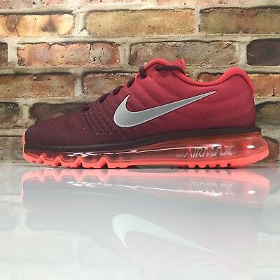 online store 4481a 7f3aa Nike Air Max 2017 Chaussures Course Hommes Taille 10 Marron Blanche Rouge  Noir