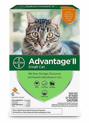 BEWARE OF FAKES 6-Pk Bayer Advantage II Flea Control SMALL Cats 5-9 lbs, 8+ wks