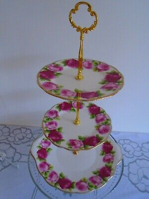 Vintage Royal Albert Old English Rose 3 Tiered Cakestand Perfect For A Teaset
