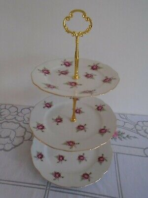 Vintage Pink Roses 3 Tiered Cake Stand Perfect For A Teaset/Teapot/Wedding