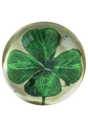 Victorian Trading Co Lucky 4 Leaf Clover Shamrock Glass Paperweight