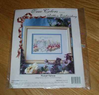 """TRUE COLORS RIBBON EMBROIDERY KIT PICKET FENCE 6.5"""" x 4.5"""" #SRK0011"""
