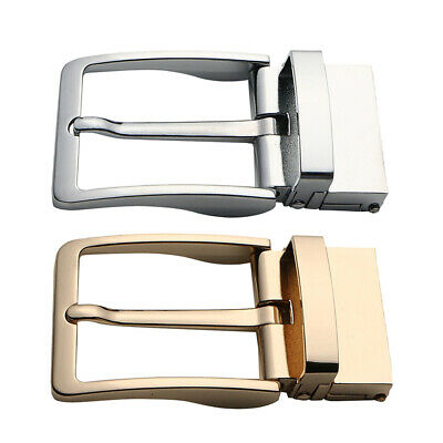 2 Packs Men Single Prong Belt Buckle Replacement 1.5 inch(40mm) Gold+Silver