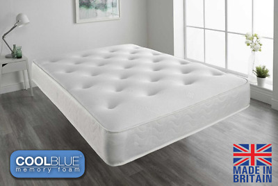 10inch Sprung Mattress - Coolblue Memory Foam - 3ft Single, 4ft6 Double 5ft King