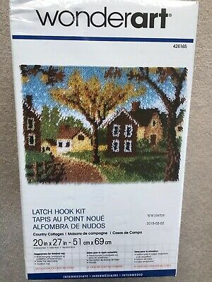 "Wonderart Classic Latch Hook Rug Kit ""Country Cottages Tapestry New & Sealed"
