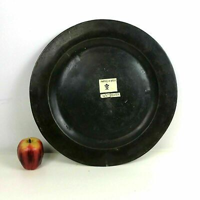 """Large 16.5"""" Antique 18th Century European Pewter Tray Charger Platter"""