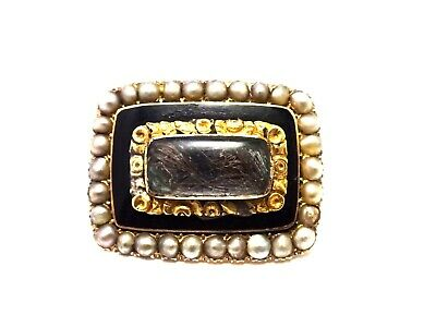 Antique Victorian 15ct Gold Pearl & Enamel Mourning Brooch c1850.