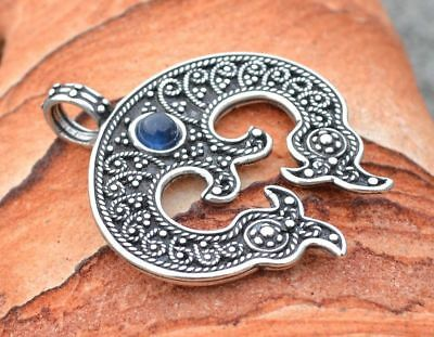 LUNULA Sterling Silver Women's Early Medieval Pendant Historical Charm Gemstone
