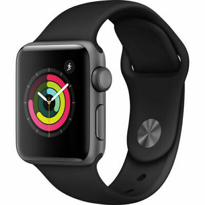 NEW APPLE WATCH SERIES 3 38mm SPACE GRAY ALUMINUM CASE BLACK SPORT BAND MTF02LLA