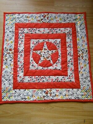 Handmade Quilted Patchwork  Baby  Cot / Pram Quilt Mickey Mouse & Red Check