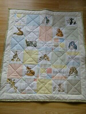 Handmade Quilted Patchwork Baby Quilt Cot / Pram Love Is  Baby Animal Fabric 2