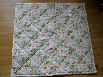 Handmade Quilted Patchwork Baby  Cot / Pram Quilt Baby Elephants & Baby Animals