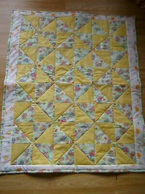 Handmade Quilted Patchwork Baby  Cot / Pram Quilt Baby Elephants With Balloons
