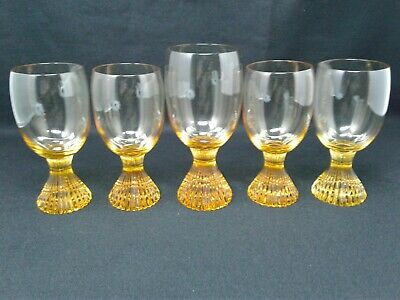 "Lenox Crystal ""Tempo"" Water Wine Goblets in Gold Yellow Buttercup"