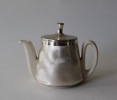 Vintage Cream Color Small Tea Pot Mother Of Pearl & Silver Accents