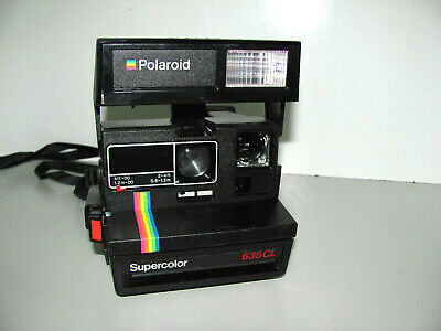 Polaroid Rainbow Stripe Supercolor 635CL Instant Film Camera Tested & Working